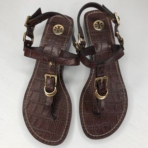 Tory Burch snakeskin wedge buckle sandals